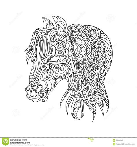 zentangle horse coloring page free adult zentangles coloring pages