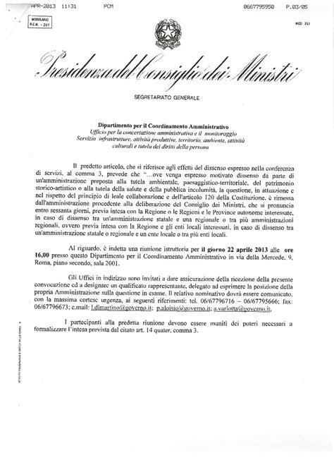 convocazione consiglio dei ministri pontinia ecologia e territorio presidenza consiglio
