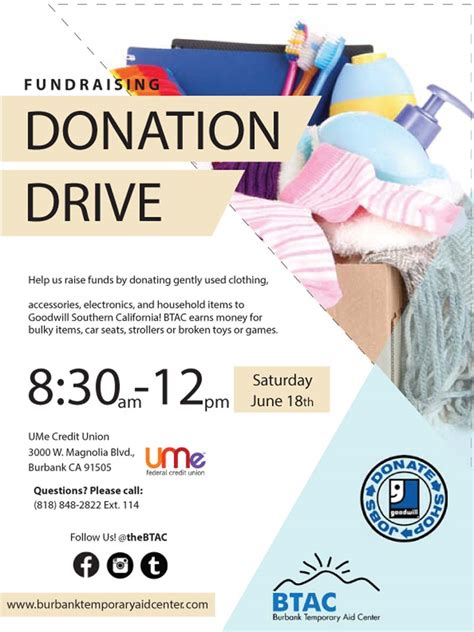 donation flyer template ume credit union sponsors btac goodwill donation drive myburbank