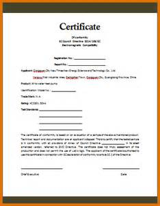 certificate of conformance templatereference letters words