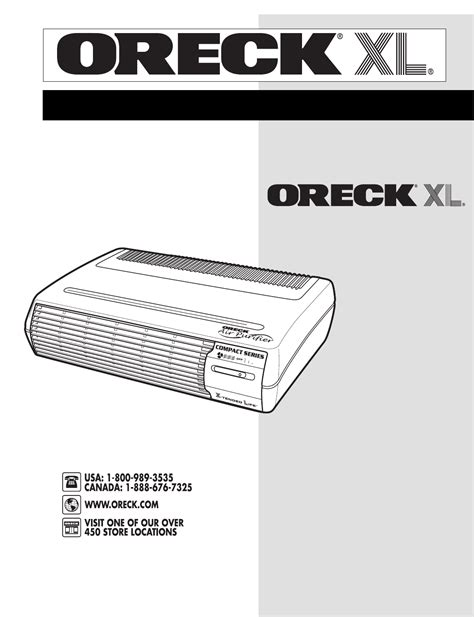 oreck air cleaner compact air purifier user guide manualsonline