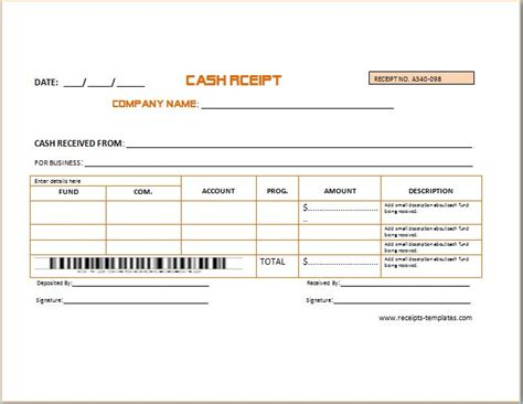business cash receipt template formal word templates