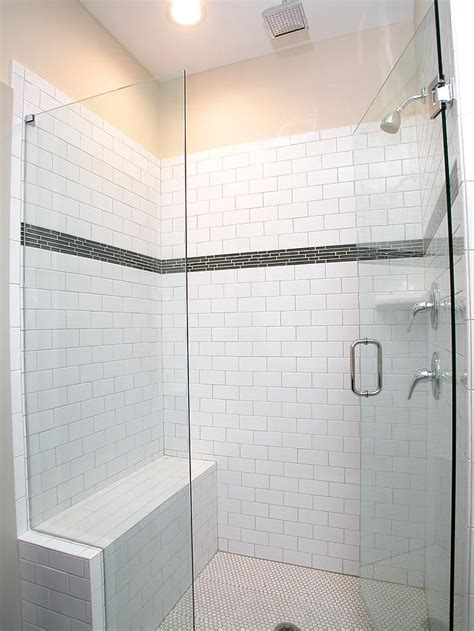 white subway tile walk in shower this walk in shower features white subway tile with glass