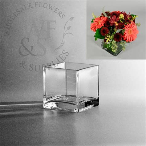 Square Flower Vases by Square Glass Cube Vase 4x4 Wholesale Flowers And Supplies
