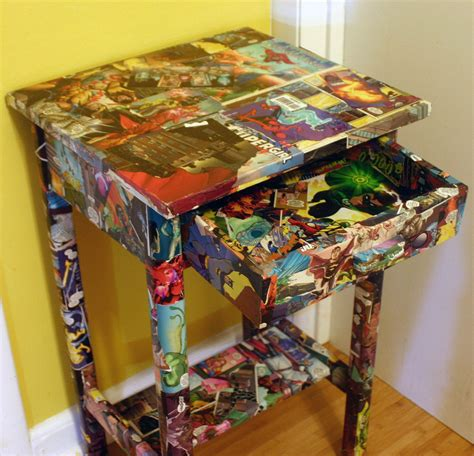 Comic Book Decoupage - comic book side table marvel and dc comics decoupaged