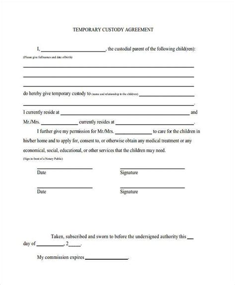Sle Custody Agreement Forms 8 Free Documents In Word Pdf Custody Arrangement Template