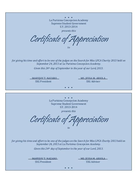 appreciation letter to judge photo appreciation certificates wording images