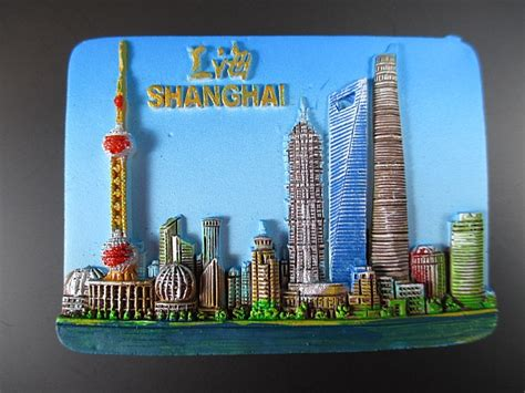 Souvenir Tempelan Magnet Shanghai Impression shanghai pearl tower jin mao china fridge poly