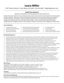 Brand Marketing Manager Sle Resume by Miller Resume Marketing Manager