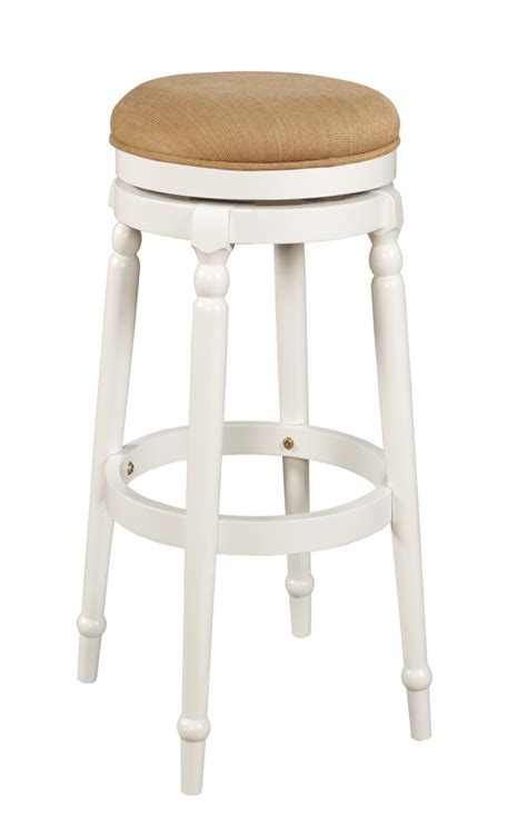 White Material In Stool by Powell White Backless Swivel Bar Stool Pw 270 432 At