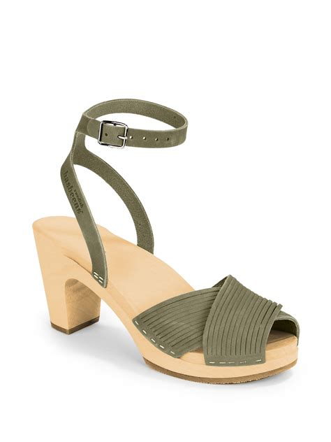clog heels sandals swedish hasbeens strappy clog sandals in gray