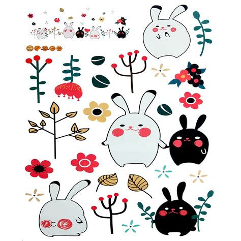 Wallpaper Sticker Pvc Kartun Anak Rabbit animal rabbit wall sticker wallpaper removable diy decal home decor mural vinyl alex nld