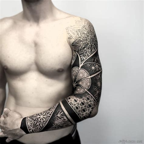 geometric patterns mens sleeve best tattoo design ideas