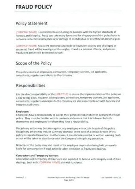Fraud Policy Template For Recruitment Agencies Forum Privacy Policy Template