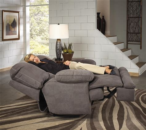 noble lay flat reclining console loveseat  slate fabric