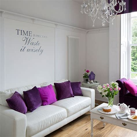 purple and living room simple white living room with purple cushions small