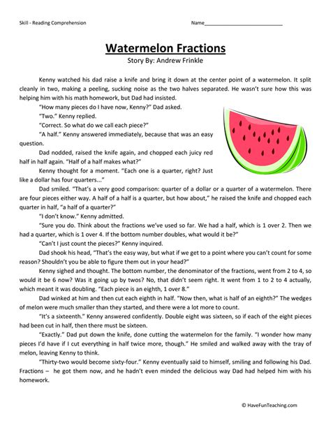 Fourth Grade Reading Worksheets by Watermelon Fractions Reading Comprehension Worksheet
