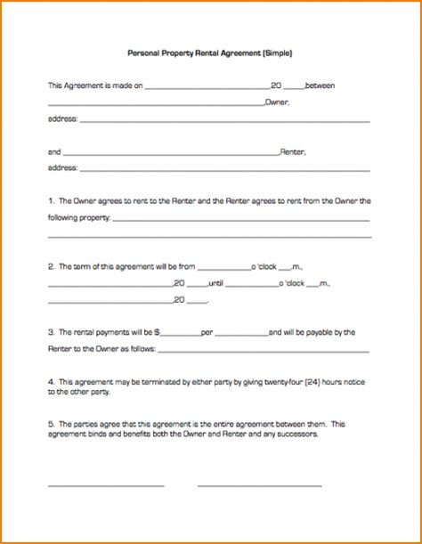 simple land lease agreement template 7 basic lease agreement template printable receipt
