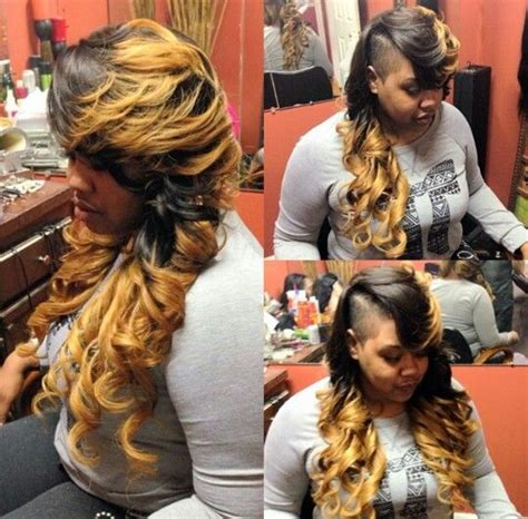shaved side ombre weave hairstyle urban hairstyles