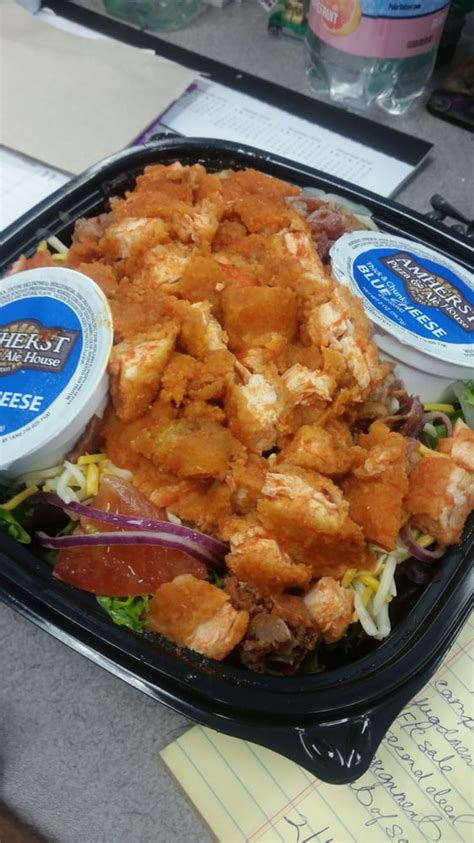ale house amherst large buffalo chicken salad to go spring mix red onion
