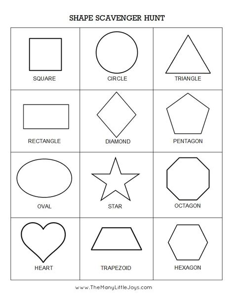 shape hunt worksheet free printable no time for flash preschool scavenger hunts 5 ways to play the many