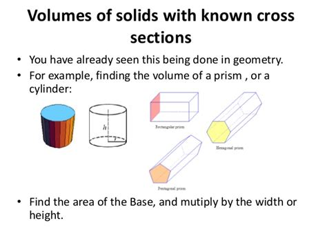 volume by cross section solids cross section