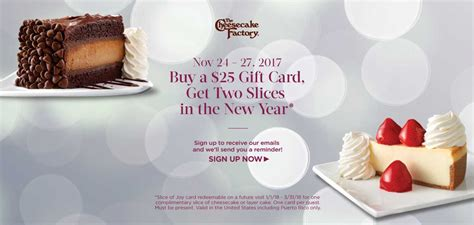 Cheesecake Factory Gift Card 2 Free Slices - cheesecake factory 2 free slices w 25 gift card ftm