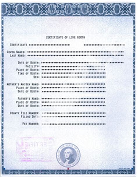 Seattle Washington Birth Records Certified Copy Us Immigration Certified Copy Of Birth