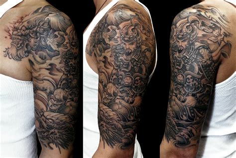 black and grey dragon sleeve tattoos chinese dragon sleeve