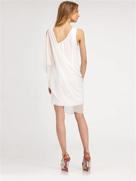 draped white dress alice olivia asymmetrically draped silk dress in white