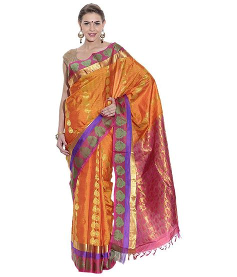 pothys silk sarees pothys orange silk saree buy pothys orange silk saree