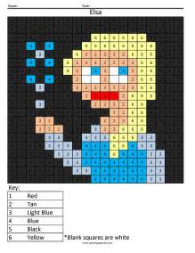 elsa color by number coloring squared