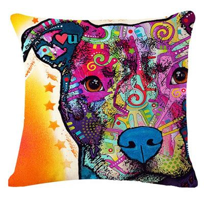 artistic pillows colourful artistic pitbull pillow pehts