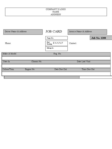 Mechanical Workshop Card Template by Card Workshop Card Template