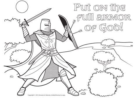 free coloring pages of armour of god