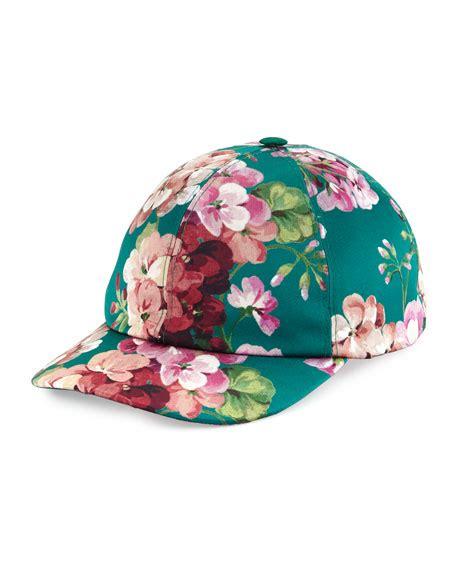Print Baseball Cap gucci floral print baseball cap