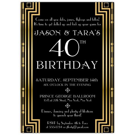 great gatsby themed invitation template gatsby gold couples birthday invitations paperstyle