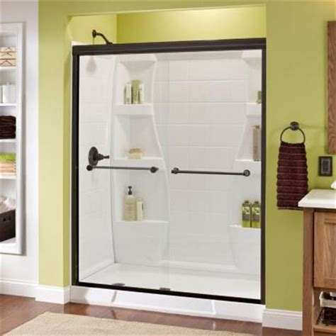 Delta Shower Door Delta Crestfield 59 3 8 In X 70 In Semi Framed Bypass Sliding Shower Door In Rubbed Bronze