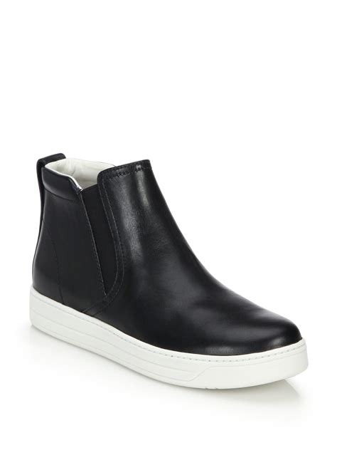 prada high top leather skate sneakers in black lyst