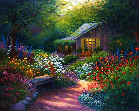 Flower Garden Painting Flower Garden Path Paintings Images Flowers Gardens Garden Paths