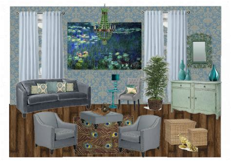Peacock Inspired Living Room by Waterlily And Peacock Inspired Living Room By