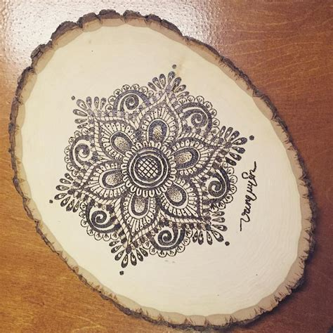 Handmade Mandala - mandala flower pyrography woodburning handmade craft
