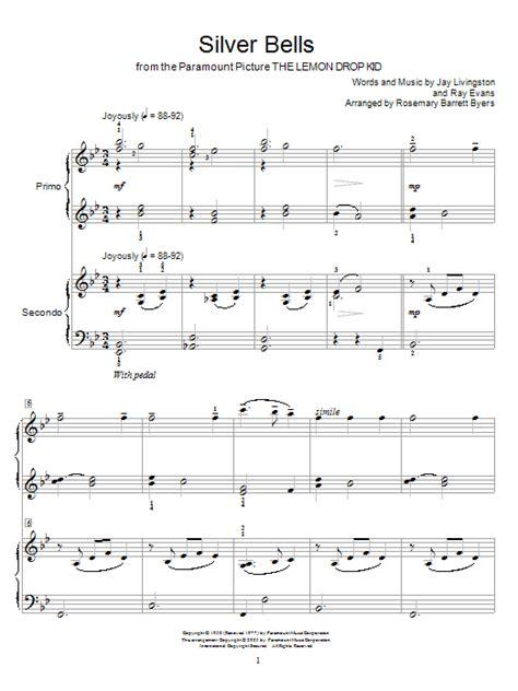 printable lyrics for silver bells silver bells sheet music by jay livingston piano duet