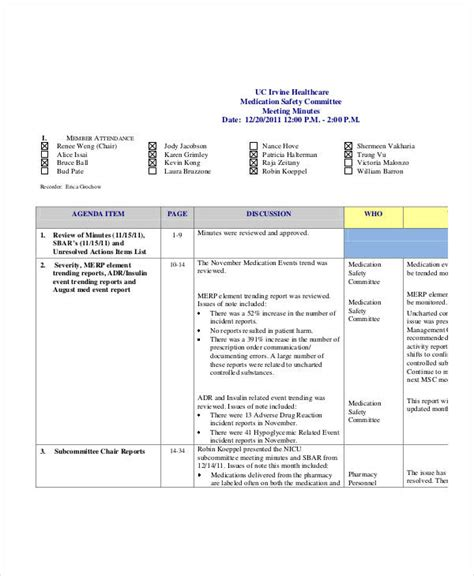 safety meeting minutes template 9 free sample example