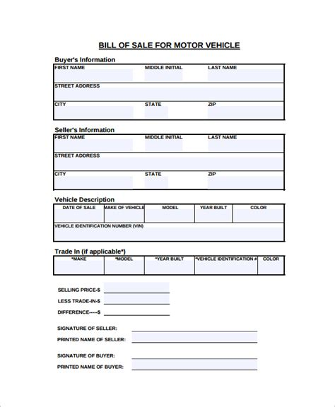 vehicle bill of sale template 11 free word pdf document downloads free premium templates