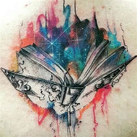 watercolor style painted mystical magic book tattoo