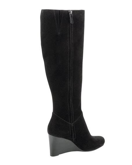 cole haan cora suede wedge boot black