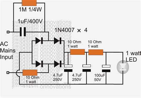 a capacitor isolated led driver with inherent current balance capability how to make a simplest compact 1 watt led driver circuit at 220v 110v mains voltage