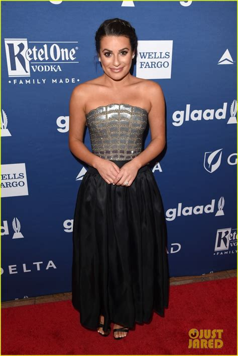 Is Here Gueer At Glaad Awards by Lea Michele Shows Engagement Ring At Glaad Media