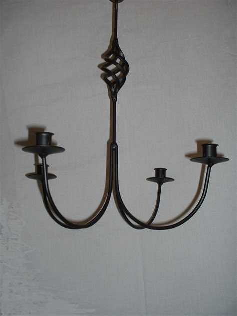 Iron Chandelier With Candles Black Wrought Iron 4 Arm Candle Chandelier Bc Usa Made Ebay